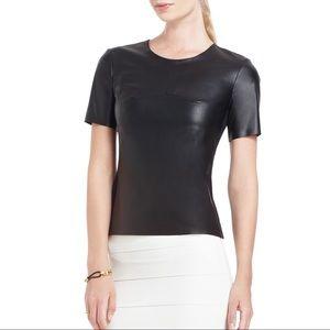 BCBG MaxAzria Tulum Black Faux Leather Top